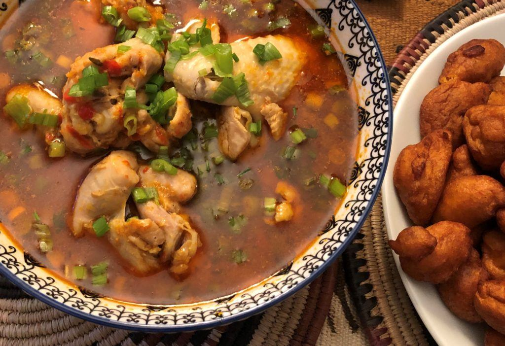 nigerian pepper soup with chicken and kosai