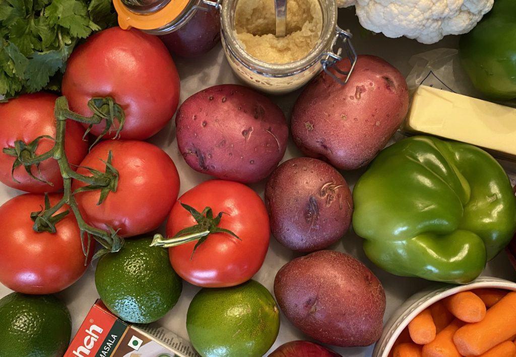 rainbow of veggies that go into pav bhaji