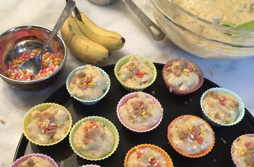 banana muffins ready to go into the oven