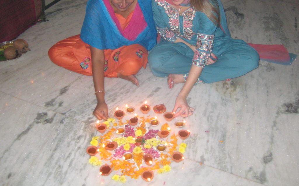 arranging flowers with my siter in law for myfirst diwali in india