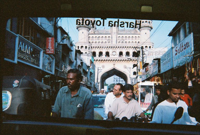 Charminar from the back window of a toyota suv, in 2005