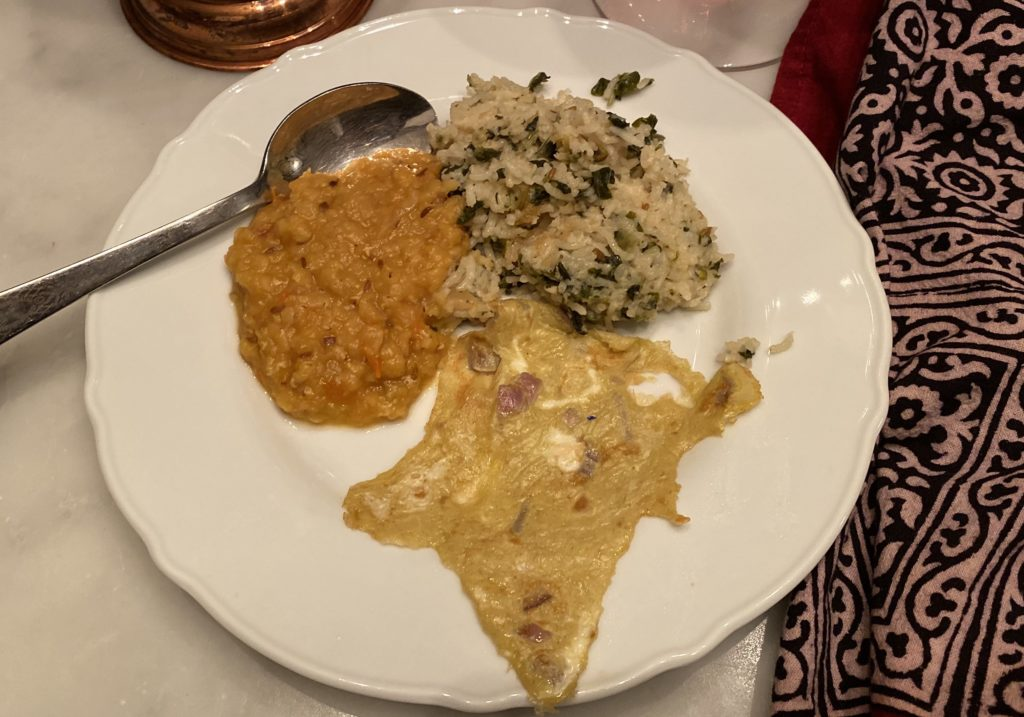 tomato pappu, pulau and indian omelet... shaped line india!