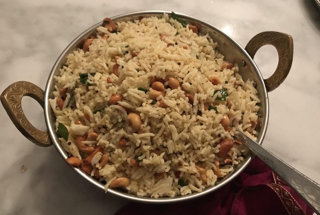lemon rice in a traditional indian bowl