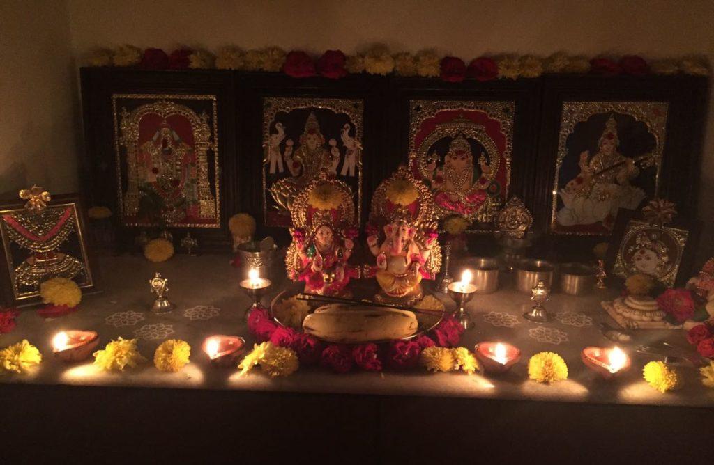 home mandir / altar ready for diwali with laxshmi and ganesh