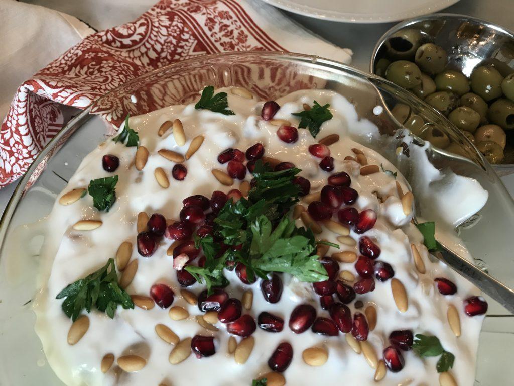 Tis'iye (aka Fatteh) warm salad of pita, yogurt, pine nuts, pomegranate, YUM