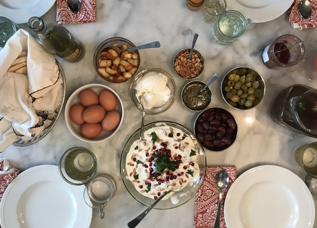 syrian brunch feast table full of food