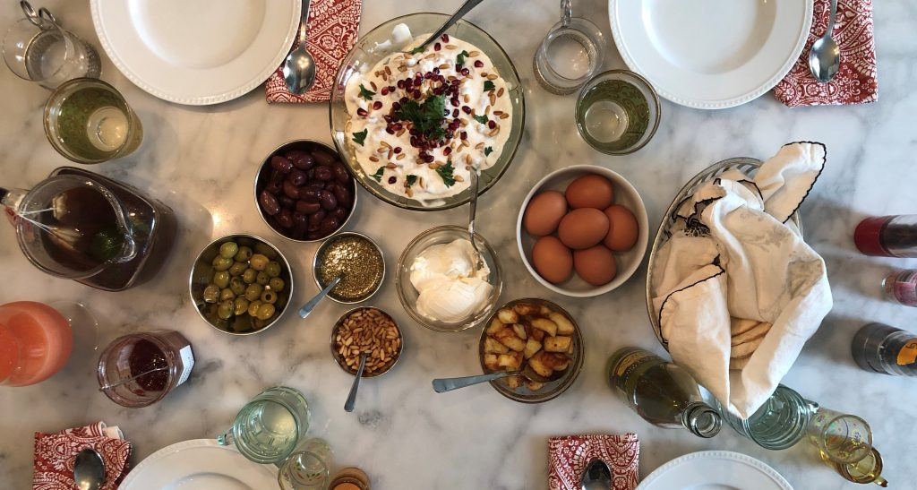 syrian brunch feast egg labheh fixins