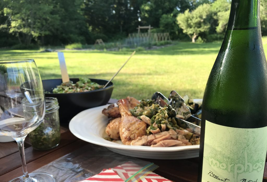 delicious seasonal and local dinner in a delightful backyard