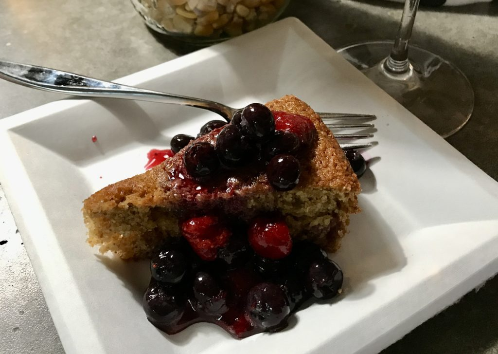 polenta cake with mixed seasonal berries from the garden for dessert