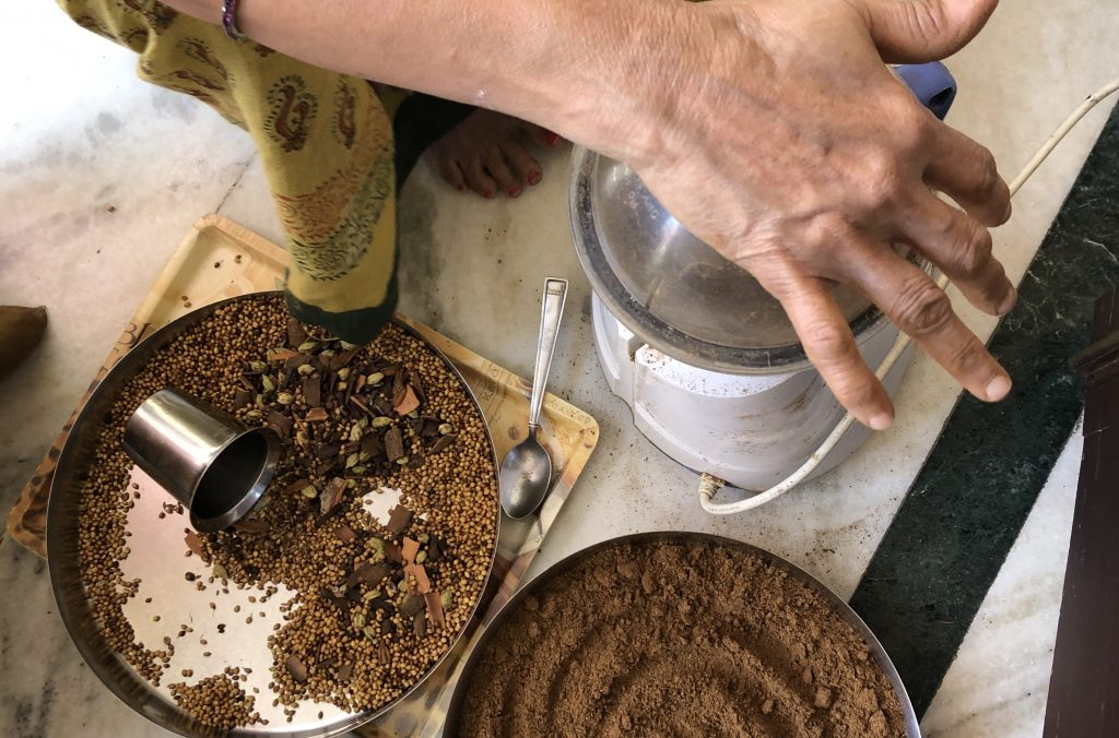 naani mixin' up some fresh garam masala