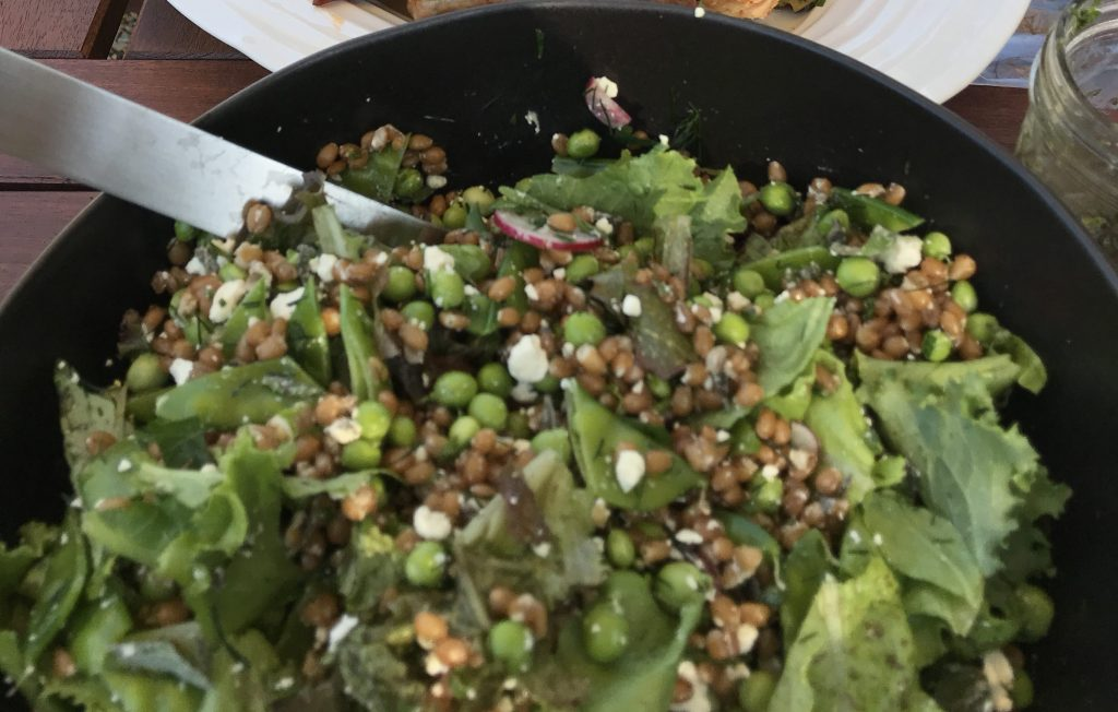 pea and wheat berry salad with mint