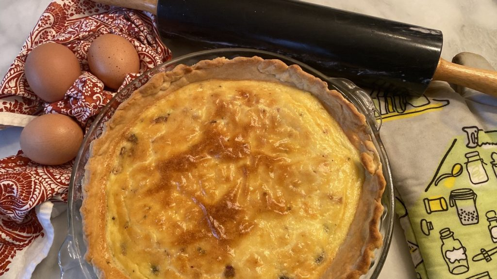 Freshly baked quiche in home made crust