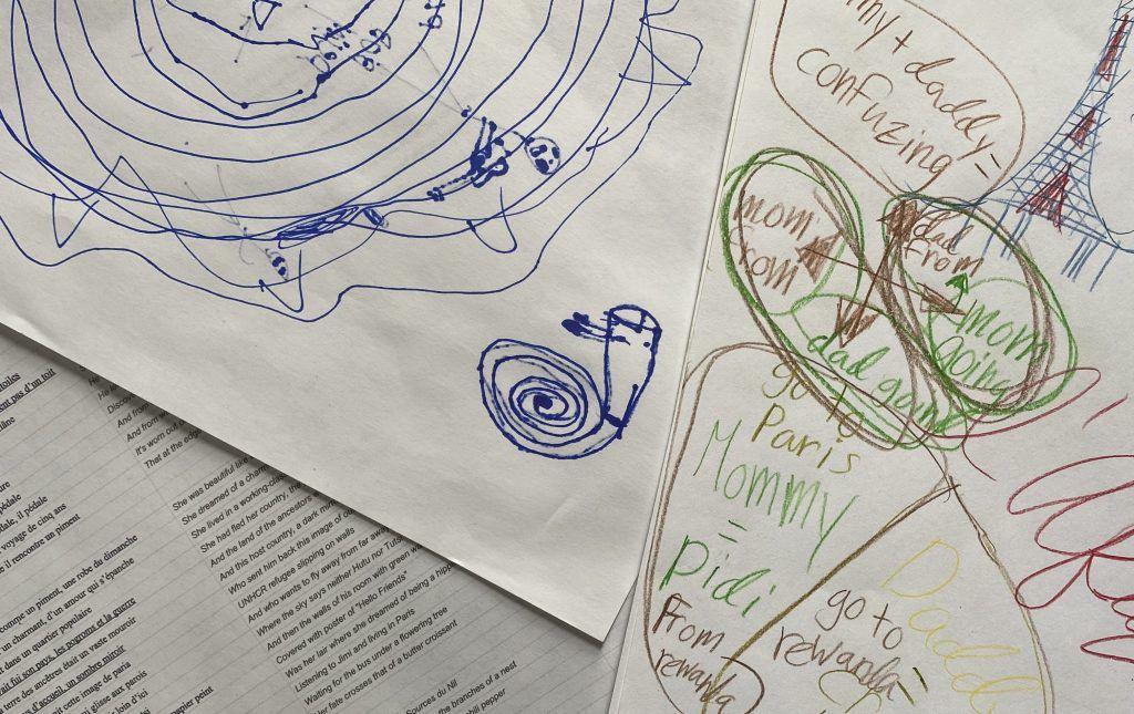 Sketches during our deep listens of Gael Faye's Pili Pili Sur Un Croissant Au Beurre