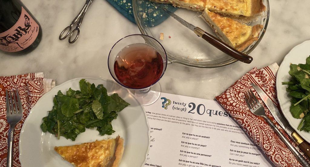 20 questions and quiche on the dinner table