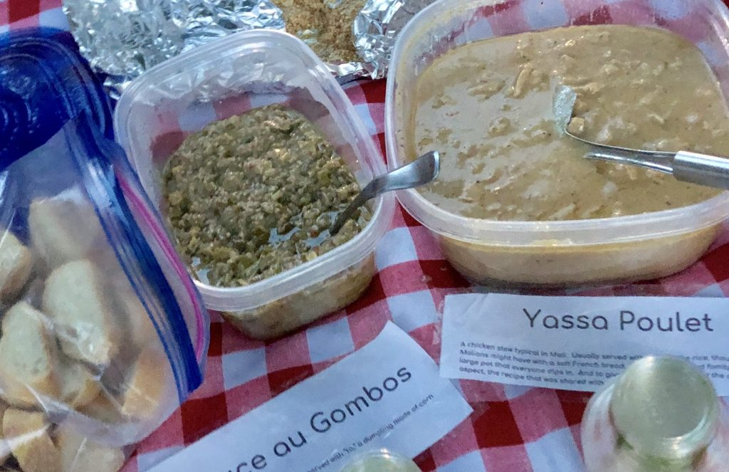 malian picnic of poulet yassa and to sauce au gombos