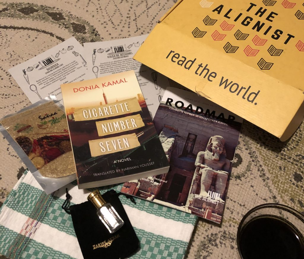 the alignist subscription box for egypt, with donia kamals novel cigarette number seven