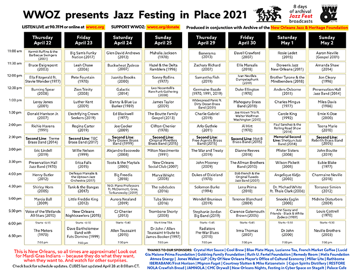 WWOZ festing in place cubes 2021