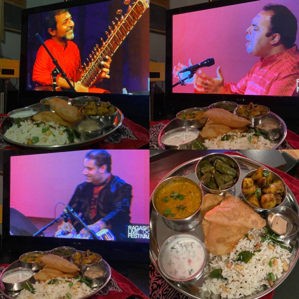 a collage of the musicians and thali