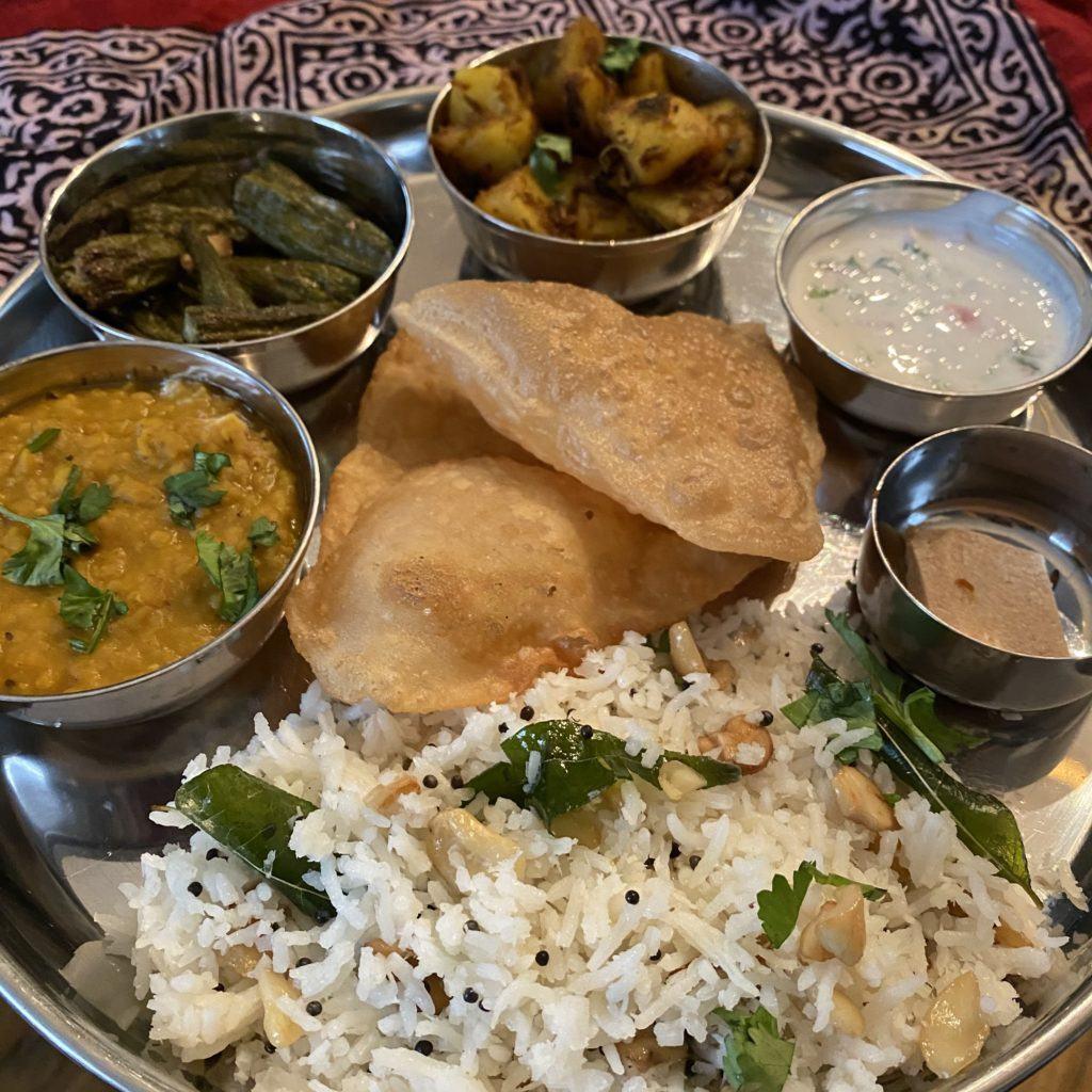 thali for ragas massive: coconut ghee rice, dal, jeera aloo, raita, burfi, okr fries and nanis puri