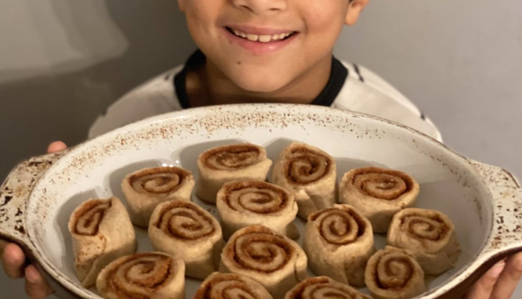 fresh batch of cinnamon rolls about to go in the oven