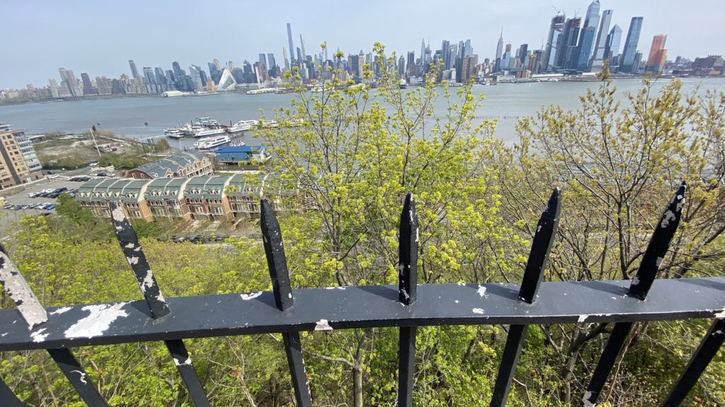 looking down from hamilton park in weehawken, nj, over the dueling grounds