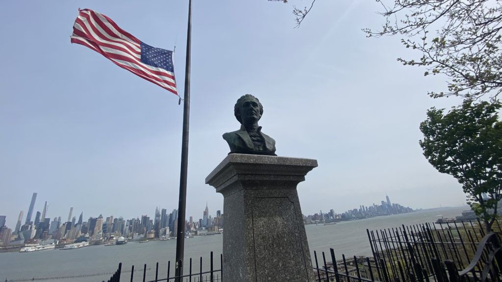 hamilton bust near hamilton park in weehawken, nj, high above the dueling grounds where he was fatally shot.