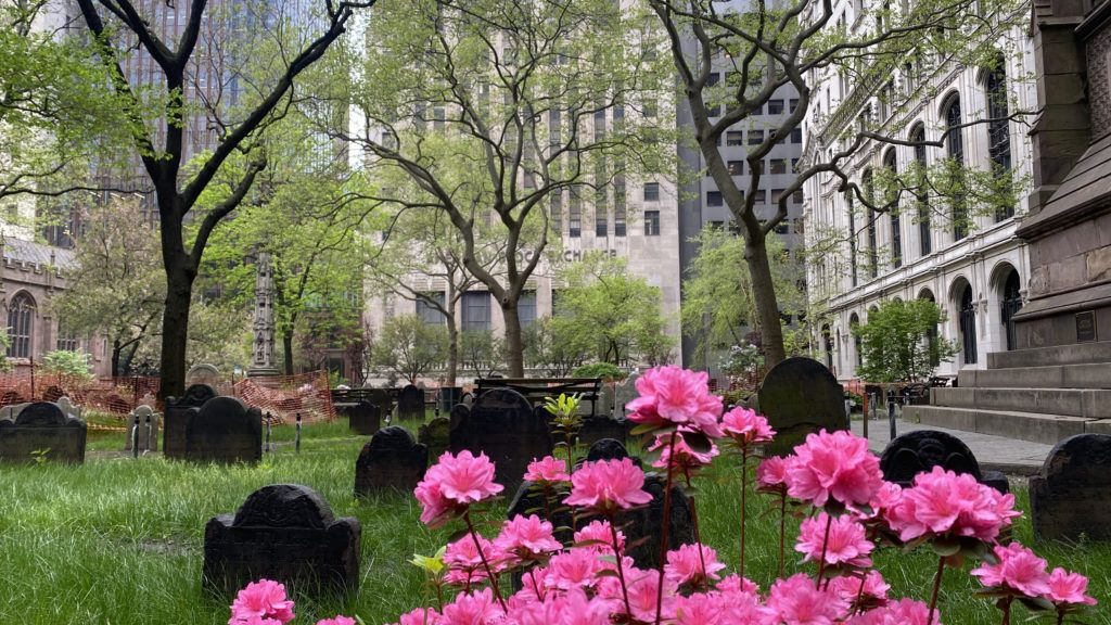 trinity cemetery on an overcast spring day in 2021