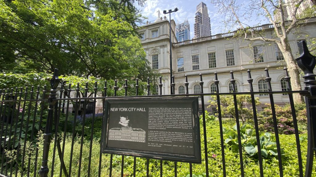 new york city hall on a gorgeous spring day in may 2021